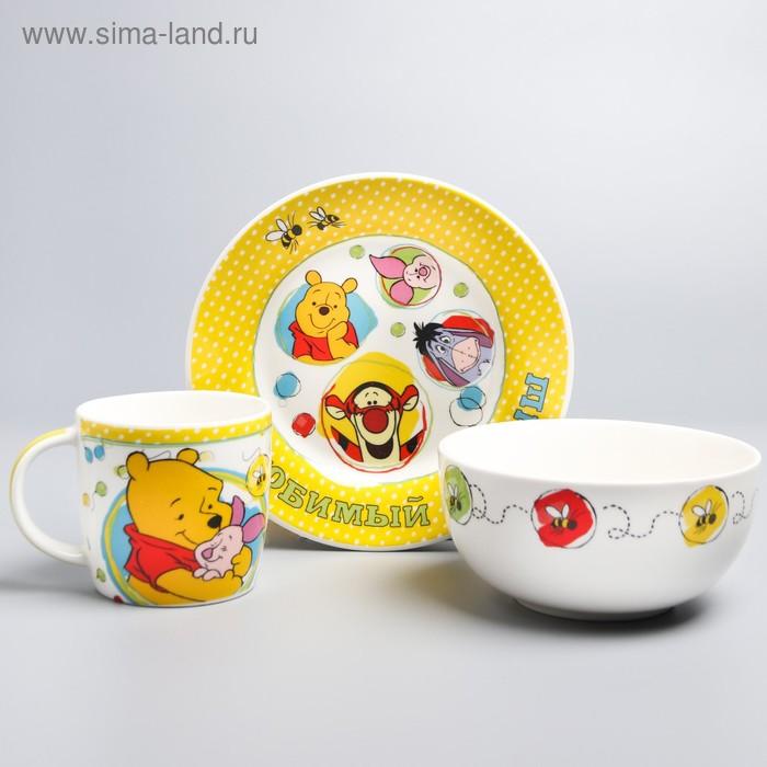 """Набор детской посуды """"Любимый малыш"""" Медвежонок Винни и его друзья, 3 предмета, тарелка, пиала"""