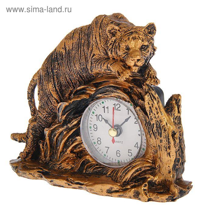 Часы настольные серия Полистоун. Животные. Тигр на камне 12*14,5см