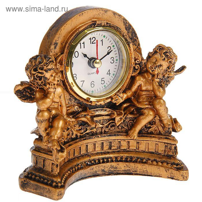 Часы настольные серия Полистоун. Ангелы в арке-подковке 12,5*13,5см