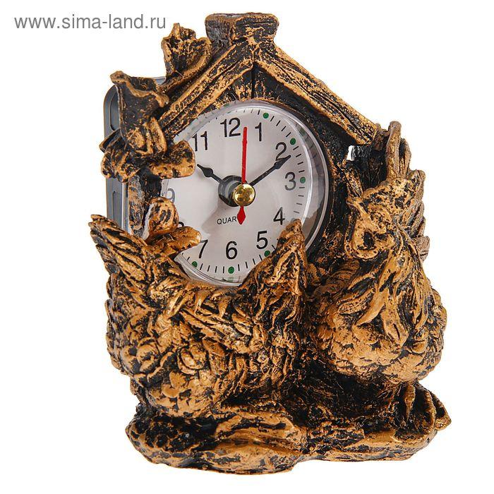 Часы настольные серия Полистоун. Птицы. Курочки 10,5*11,5см