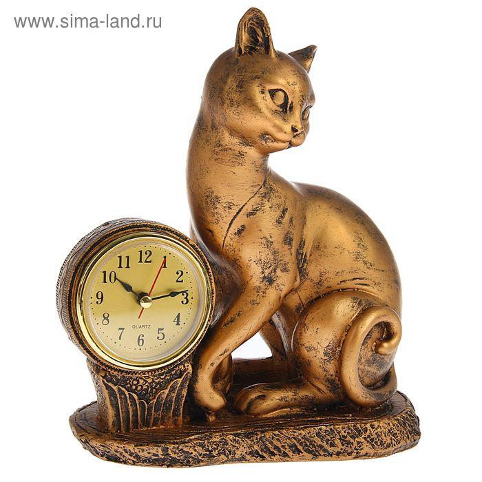 Часы настольные серия Полистоун. Животные. Киска 20*22,5см