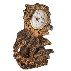 Часы настольные серия Полистоун. Животные. Медведица с медвежонком 13*17см