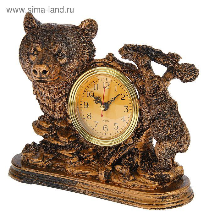 Часы настольные серия Полистоун. Животные. Медведица с медвежонком в лесу 18*23см