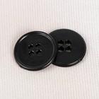Пуговица, 4 прокола, 20мм, цвет чёрный