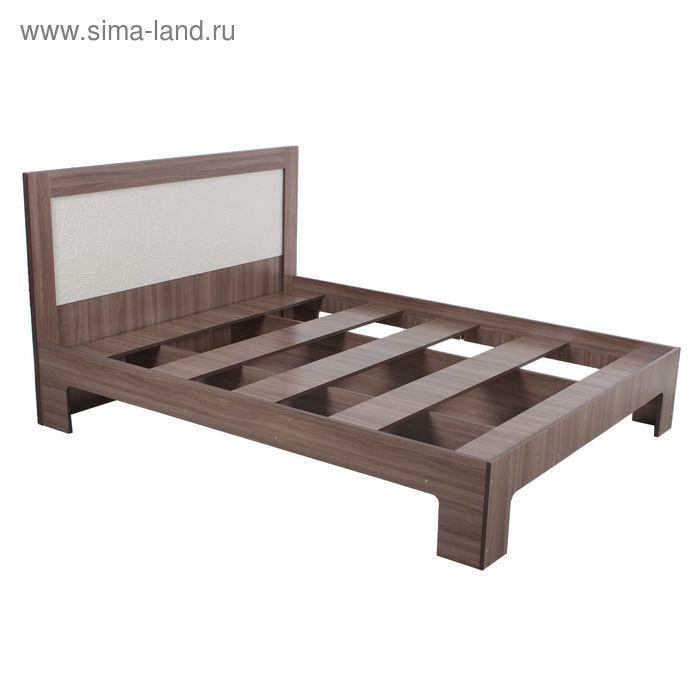 Кровать Кр-14 1600 1000*1640*2050 Белый шелк/Ясень Шимо Темный 001
