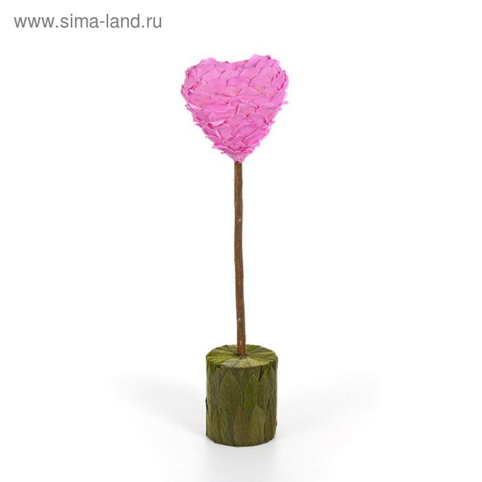 """Декоративная композиция """"Сердце"""" из лепестков зеленый вельвет, розовый"""
