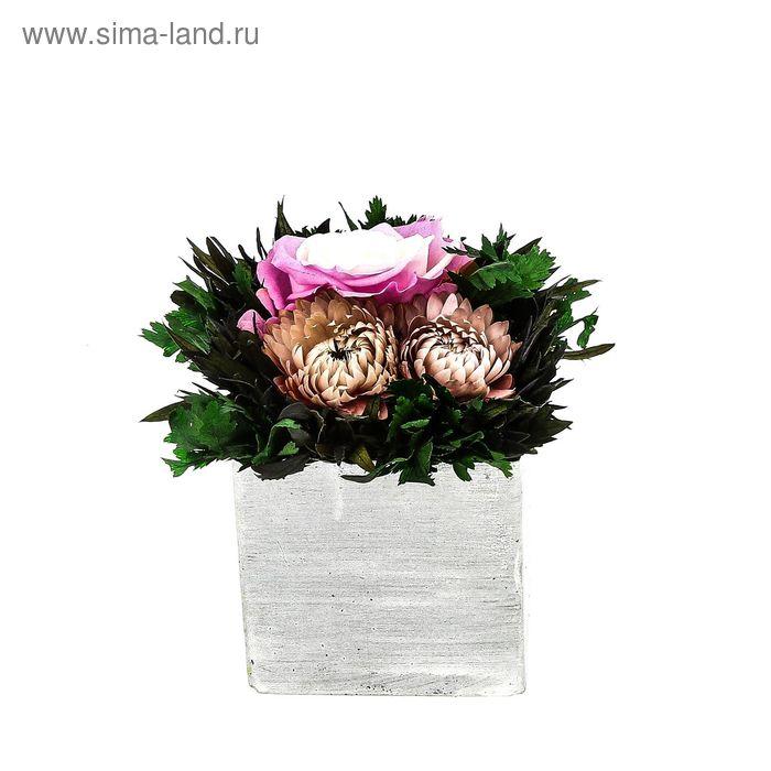 """Декоративная композиция """"Франциска"""", 12,5 х 12,5 х 13 см, бело-розовый"""