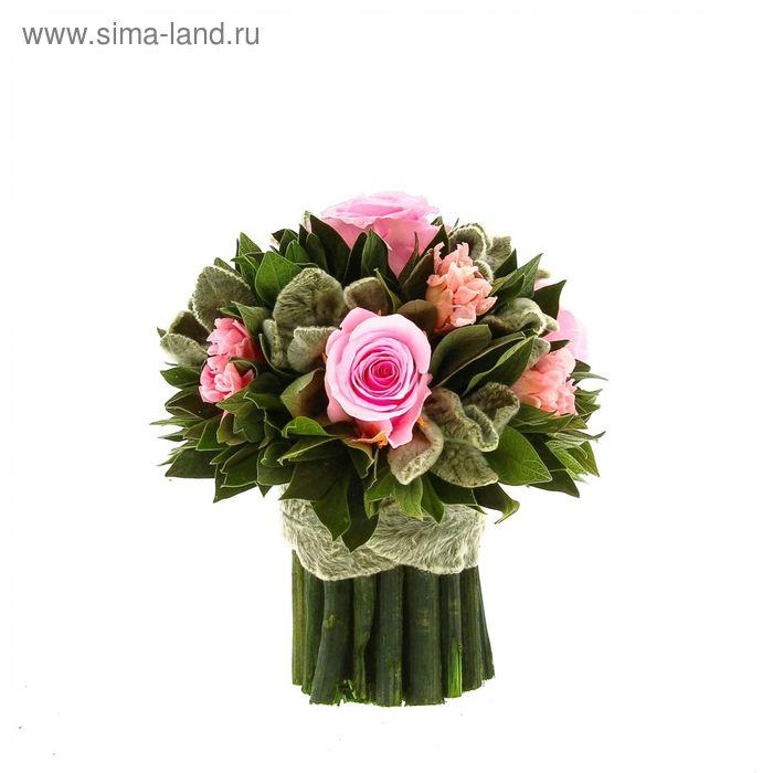 """Декоративная композиция """"Вельвет"""" малый, 14 х 14 х 15 см, розовый"""