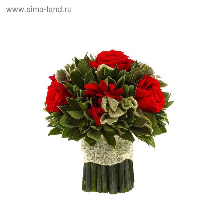 """Декоративная композиция """"Вельвет"""" малый, 14 х 14 х 15 см, красный"""