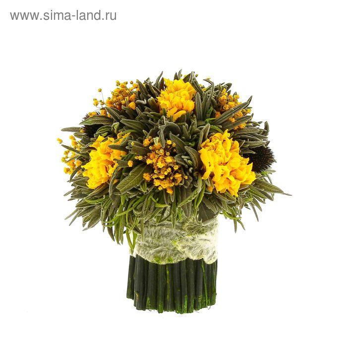 "Декоративная композиция ""Лаванда"" малая, 14 х 14 х 15 см, желтый"