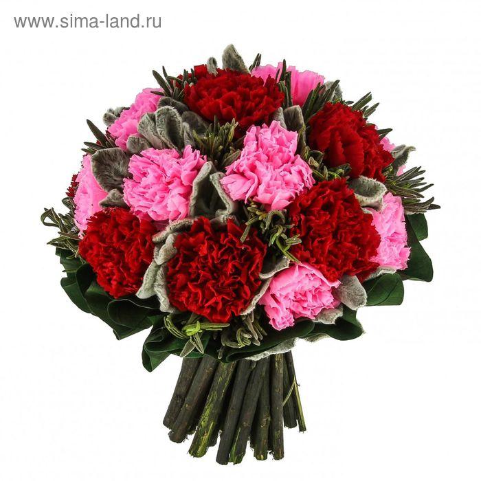 """Декоративная композиция """"Симфония гвоздики"""", 20 х 20 х 20 см, красный, розовый"""