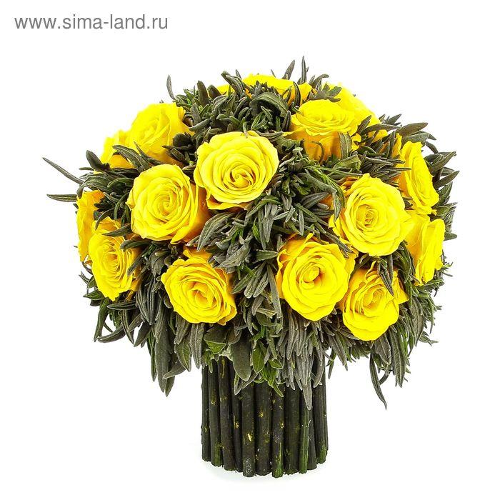 """Декоративная композиция """"Праздник цвета"""" из лаванды 25 средних бутонов роз, 19 см, желтый"""
