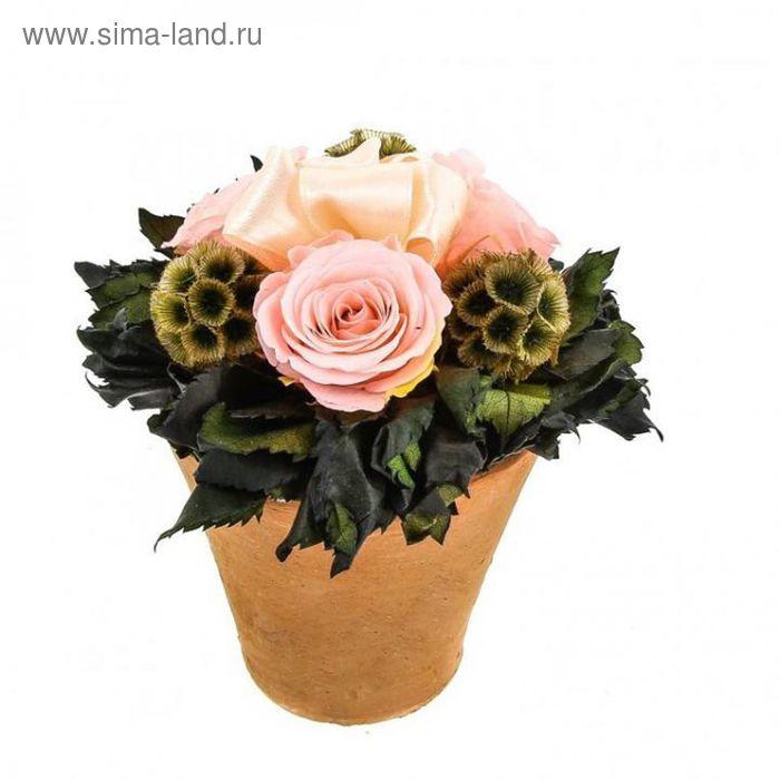 """Декоративная композиция """"Восхищение"""", в горшочке с персиковыми розами, 16 х 16 х 15 см"""