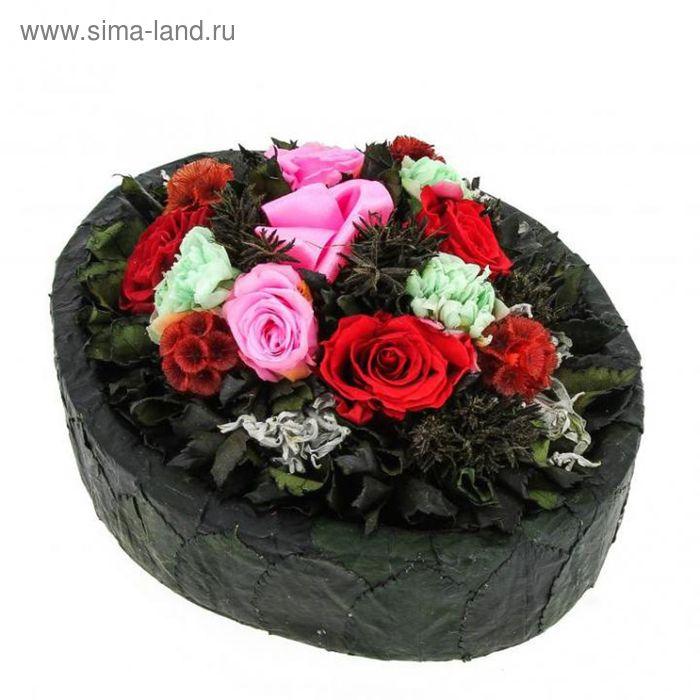 """Декоративная композиция """"Аврора"""", 24,5 х 19 х 12 см, красный, розовый"""
