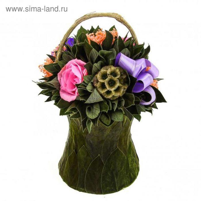"""Декоративная композиция """"Корзинка роз"""" из листьев вельвета, розовых и лиловых бутонов роз, 13 х 13 х"""
