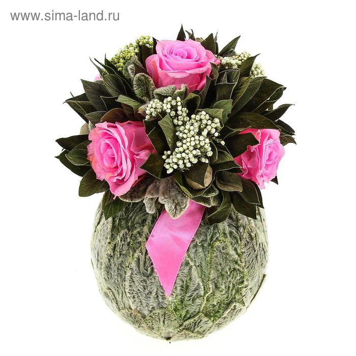 """Декоративная композиция """"Бомбоньер"""" маленький из чистеца, 15 х 15 х 21 см, розовый"""