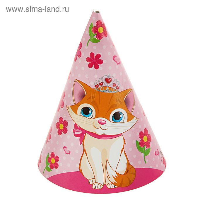"""Колпак  """"Кот"""" 16см. 10 шт, розовый фон, цветы"""