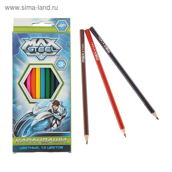 Карандаши 12цв MAX STEEL 85702