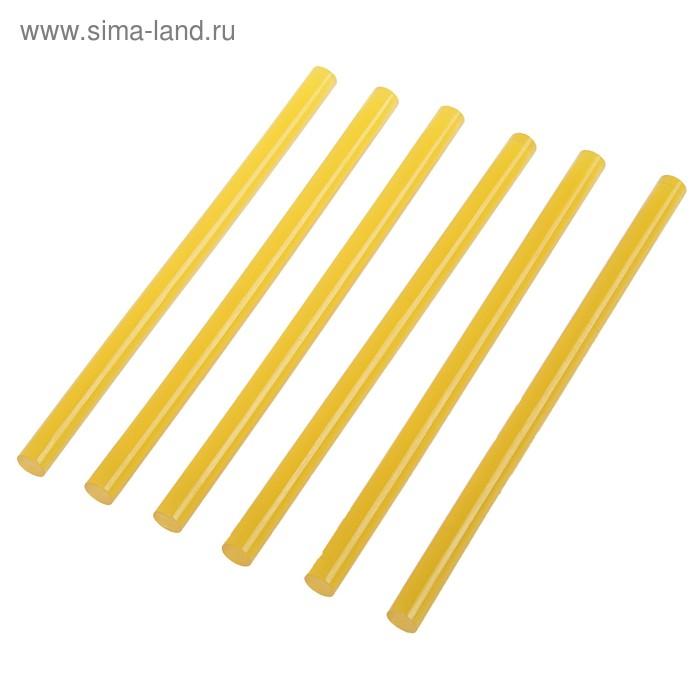 """Стержни клеевые """"TUNDRA basic"""" D 11 х 200 мм, 6 шт. желтые по бумаге и дереву"""