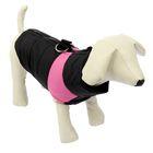 Куртка на синтепоне с креплениями для поводка, размер M (ОГ 43 см, ДС 30 см), черная с розовым