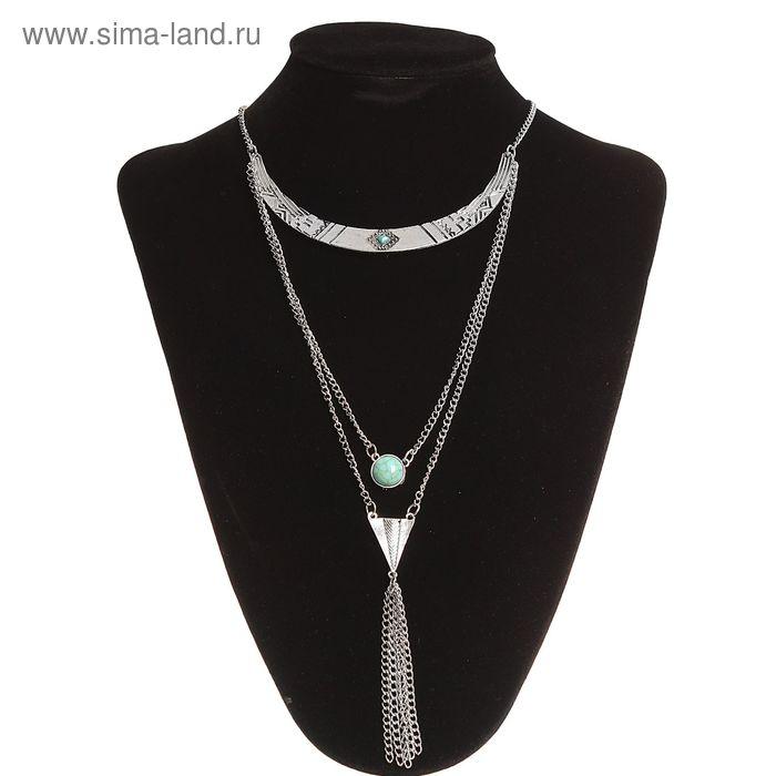 """Колье """"Мифы Египта"""", цвет зелёный в чернёном серебре"""