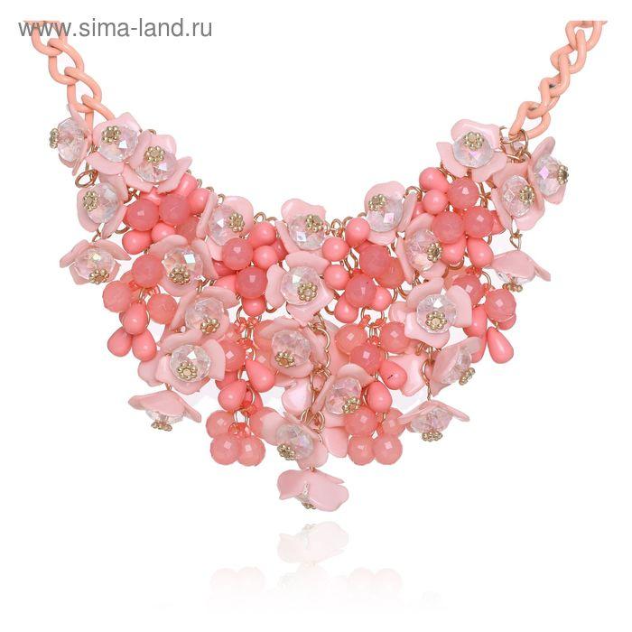"""Колье """"Цветочный рай"""", цвет розово-персиковый"""