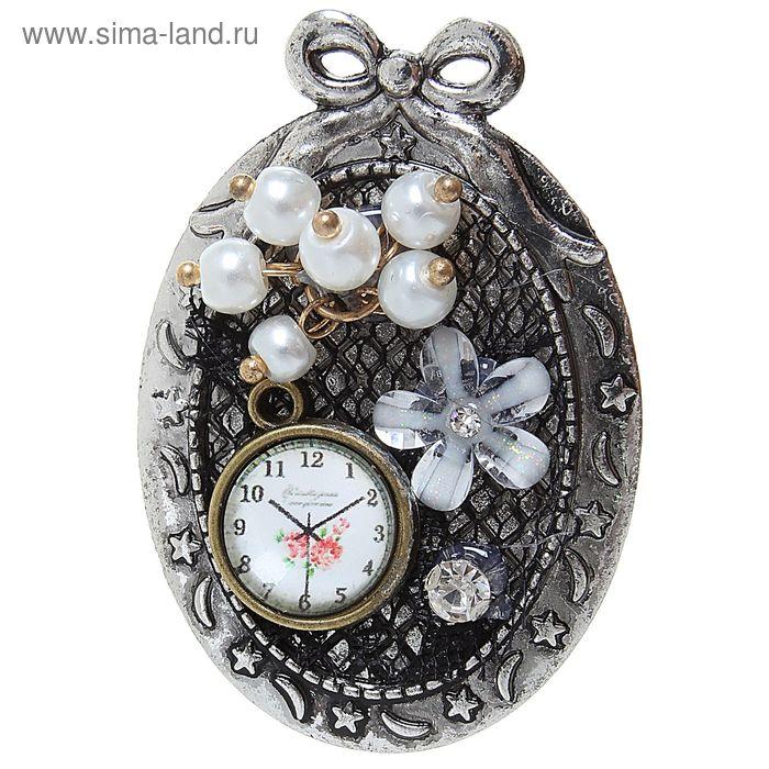 """Брошь """"Винтаж"""" часы, цветная в серебре"""
