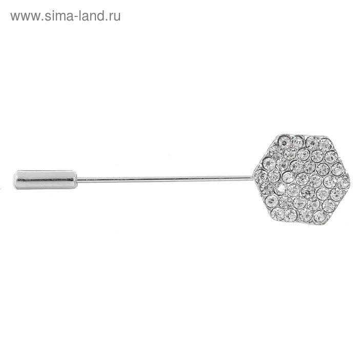 """Булавка """"Шестигранник"""" роза, цвет белый в серебре, 4,3 см"""
