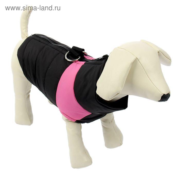 Куртка на синтепоне с креплениями для поводка, размер XL (ОГ 53 см, ДС 39 см), черная с розовым