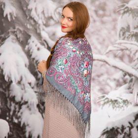 """Платок многоцветный с бахромой Этель """"Новогодние забавы"""", размер 92х92 см, цвет антрацит"""