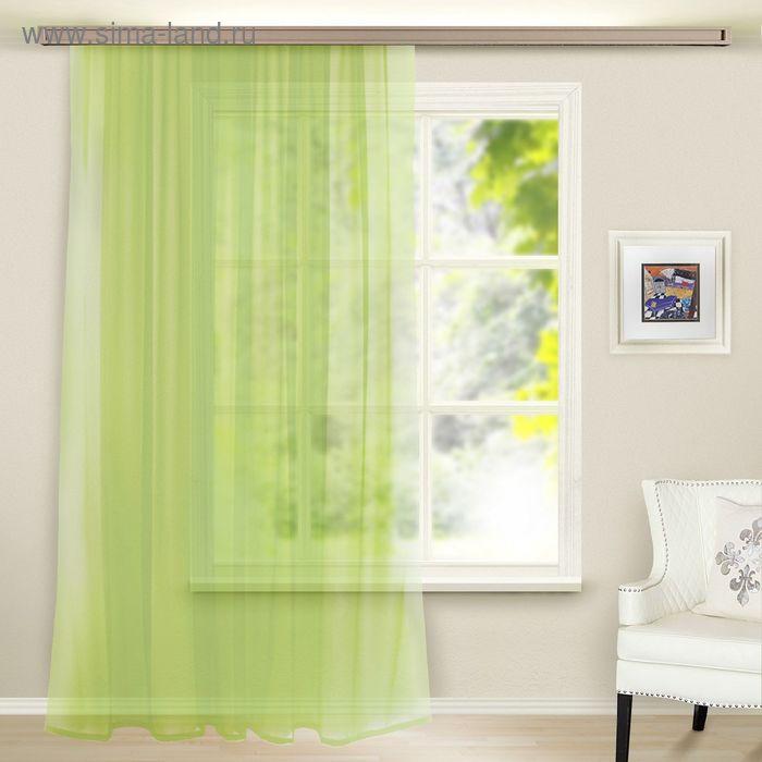 Штора вуаль, ширина 300 см, высота 260 см, цвет светло-зелёный
