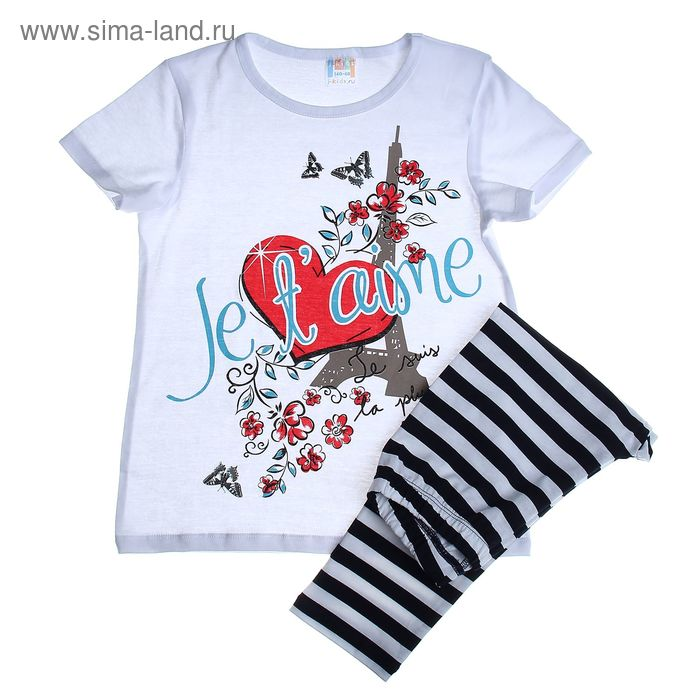 Комплект домашний для девочки (футболка, штаны ), рост 122 см (64), цвет белый