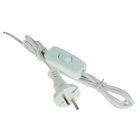 Шнур с проходным выключателем и вилкой, 1.7 м, ШВВП 2х0.5, белый