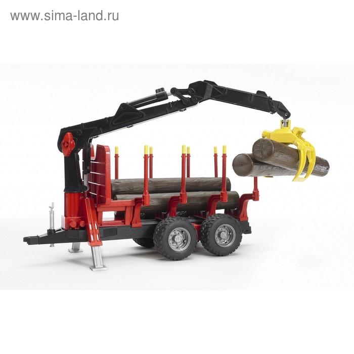 Прицеп для перевозки леса с манипулятором и брёвнами