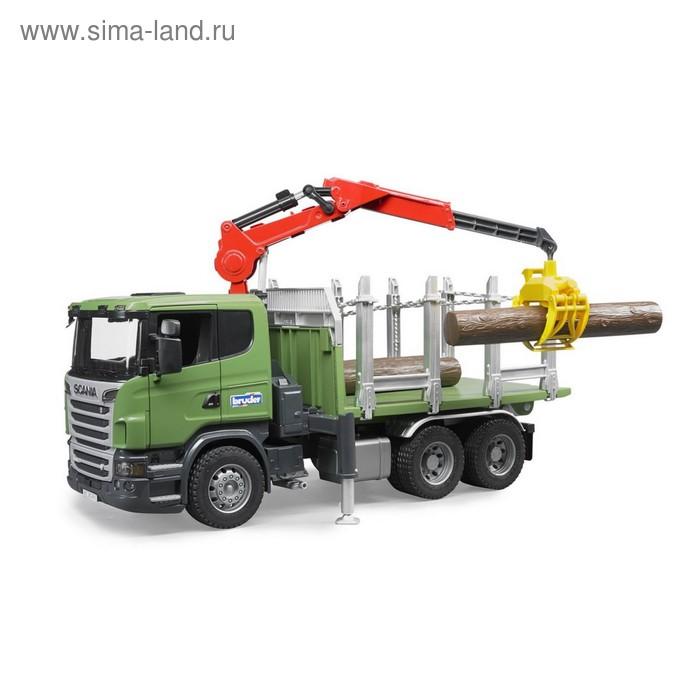 Лесовоз Scania с портативным краном и брёвнами