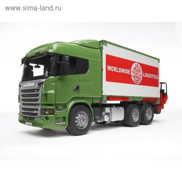 Фургон Scania с погрузчиком и паллетами