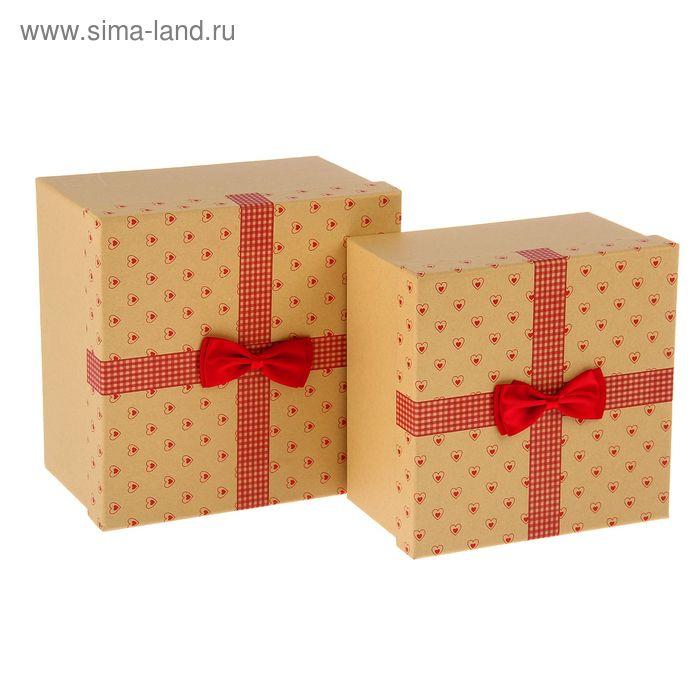 """Набор коробок 2в1 квадрат """"Сердечки"""" (23*23*14/20,5*20,5*12,5 см), цвет красный"""