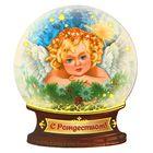"""Магнит в форме снежного шара """"С Рождеством! Ангел у окна"""""""
