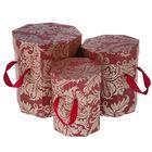 """Набор коробок 3в1 """"Узор"""", цвет бордовый, 21 х 21 х 21 - 14,5 х 14,5 х 15,5 см"""