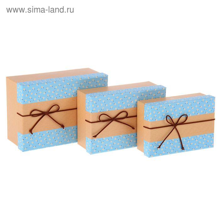 """Набор коробок 3в1 прямоуг """"Цветы"""" (23*16*9/21*14*7,5/19*12*6 см)"""