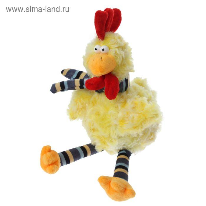 """Мягкая игрушка """"Петух с полосатыми лапками и шарфом"""", цвет жёлтый"""