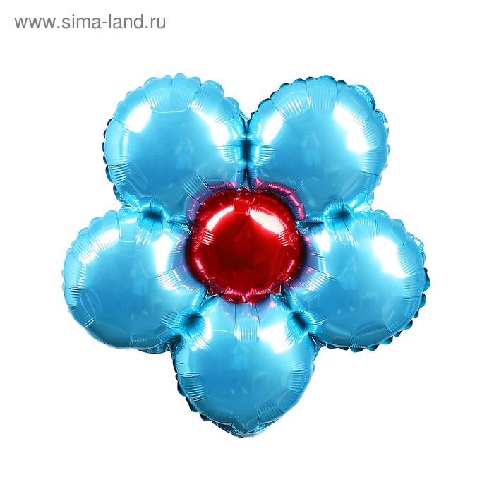 """Шар Фольгированный Мини 14"""" """"Цветок"""" Голубой для палочки с клапаном"""