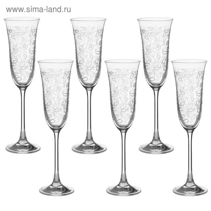 """Набор бокалов для шампанского 160 мл """"Флора. Белое кружево"""", 6 шт"""