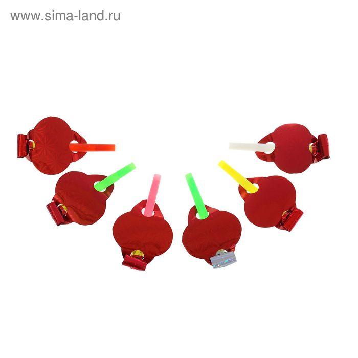 """Карнавальный язычок """"Голография"""" (набор 6 штук), цвет красный"""