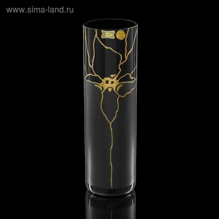 """Ваза """"Золотая орхидея"""" чёрная"""