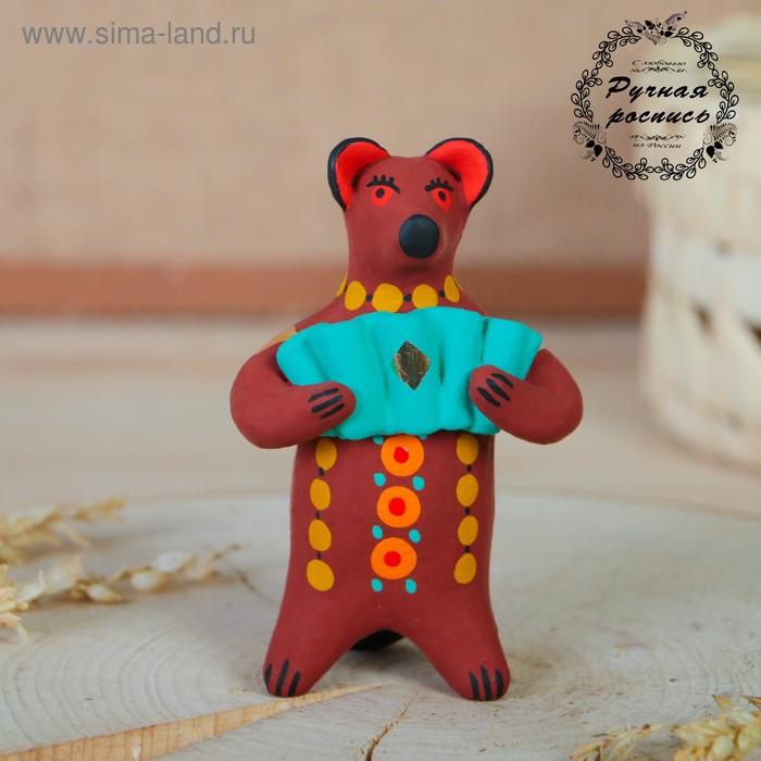 """Дымковская игрушка """"Медведь с цветком, с петухом"""" 11 см  микс"""