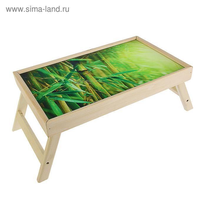 """Столик для завтрака """"Бамбук"""" стеклянная поверхность"""