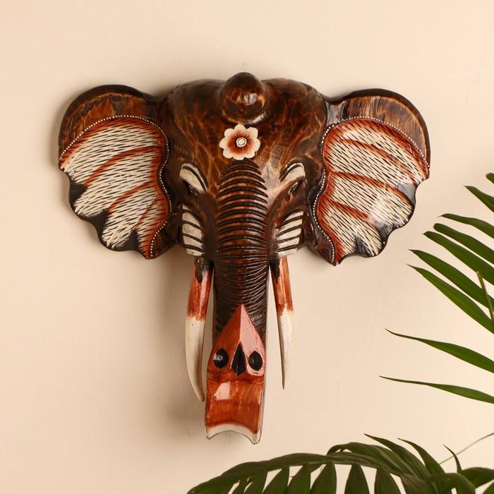 """Сувенир """"Голова слона с цветком"""", 40 см"""