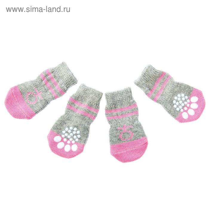 """Носки хлопковые нескользящие """"Девочка"""", размер М (3/4 * 7 см), набор 4 шт"""