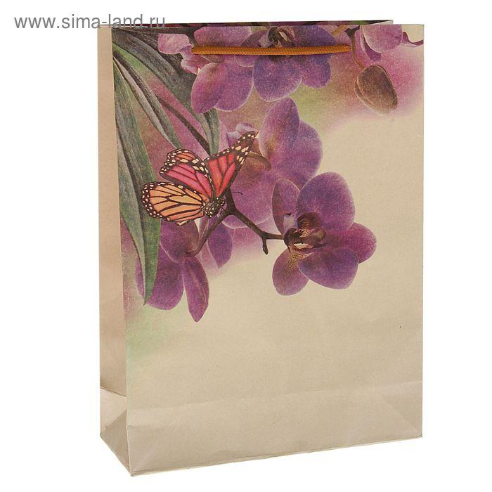 """Пакет крафт """"Орхидея"""", 27 х 37 х 9 см"""